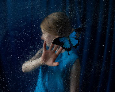 Heather Evans Smith GIRL BEHIND WET WINDOW WITH BUTTERFLY