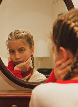 Terry Bidgood YOUNG BLONDE GIRL REFLECTED IN MIRROR