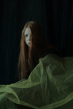 Daria Amaranth SAD GIRL WITH LONG RED HAIR AND NET FABRIC