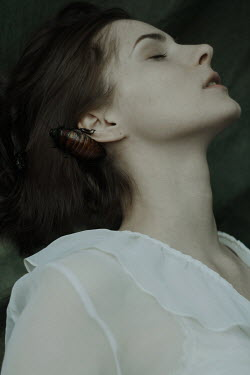 Daria Amaranth BRUNETTE WOMAN WITH LARGE BEETLE ON EAR