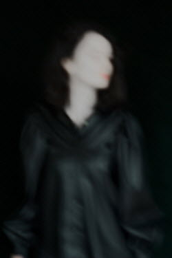 Daria Amaranth BLURRED WOMAN IN BLACK WITH RED LIPS