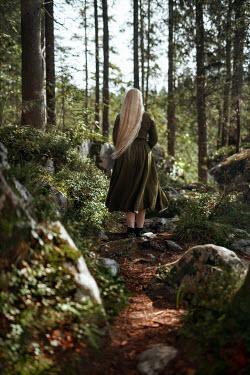 Nathalie Seiferth BLONDE GIRL STANDING IN FOREST