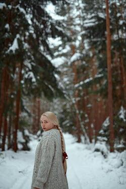 Nathalie Seiferth ANXIOUS BLONDE GIRL ON SNOWY COUNTRY LANE