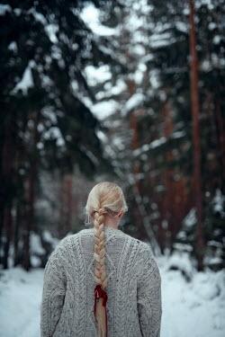 Nathalie Seiferth BLONDE GIRL ON SNOWY COUNTRY LANE