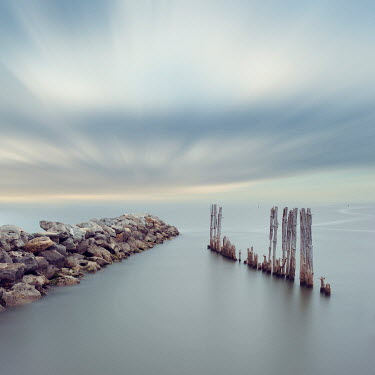 Christine Amat CALM SEA WITH STONE AND WOODEN GROYNES
