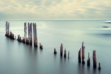 Christine Amat CALM SEA WITH DECAYED WOODEN GROYNES