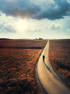 Magdalena Russocka modern man walking on country road at sunset from above