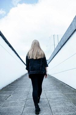 Shelley Richmond BLONDE GIRL WALKING UP CONCRETE RAMP