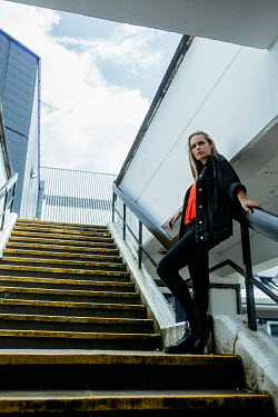Shelley Richmond BLONDE GIRL STANDING ON STEPS IN CITY