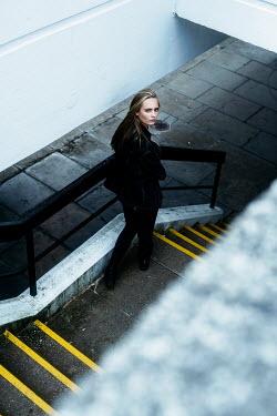 Shelley Richmond BLONDE GIRL WALKING DOWN URBAN STEPS