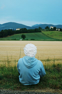 Giovan Battista D'Achille MAN WITH FOAM ON HEAD SITTING IN COUNTRYSIDE