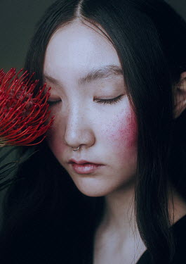 Irina Orwald ASIAN WOMAN WITH RED FLOWER