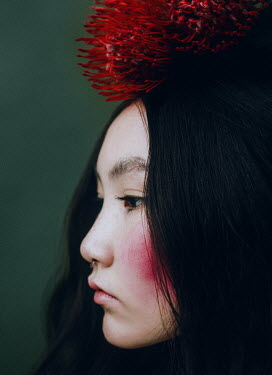 Irina Orwald ASIAN WOMAN WITH RED FLOWERS ON HEAD