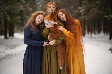 Alexandra Bochkareva THREE WOMEN WITH FOX IN SNOWY COUNTRYSIDE