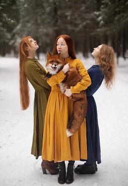 Alexandra Bochkareva THREE GIRLS WITH FOX IN SNOWY COUNTRYSIDE