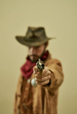 CollaborationJS COWBOY WITH HAT POINTING GUN