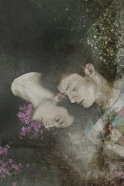 Giovan Battista D'Achille COUPLE LYING ON GROUND WITH FLOWERS