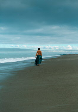 Mary Wethey HISTORICAL WOMAN WALKING ON SANDY BEACH