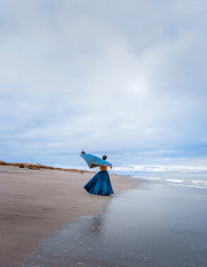 Mary Wethey HISTORICAL WOMAN WITH FLOWING SHAWL ON BEACH