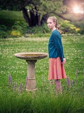 Elisabeth Ansley YOUNG GIRL BY BIRD BATH IN GARDEN