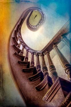 Jill Battaglia WOODEN SPIRAL STAIRCASE FROM BELOW