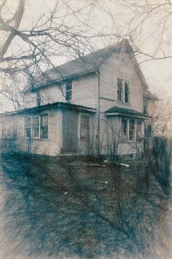 Jill Battaglia WHITE WOODEN HOUSE IN WINTER