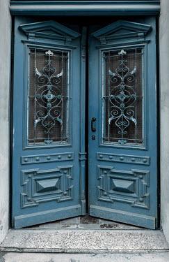 Jaroslaw Blaminsky TWO BLUE DOORS IN OLD BUILDING