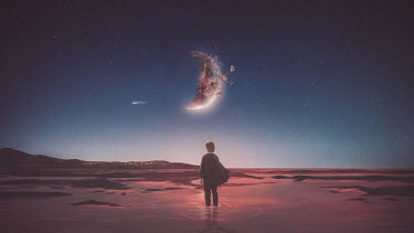 Michael Vincent Manalo BOY STANDING IN SEA WATCHING EXPLODING MOON