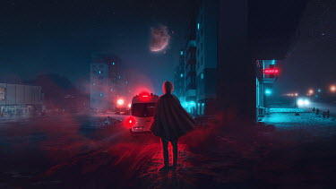 Michael Vincent Manalo MAN IN SNOWY CITY AT NIGHT WATCHING EXPLODING PLANET