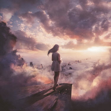 Michael Vincent Manalo GIRL ON CLIFF WATCHING CITY IN FOG