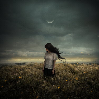 Michael Vincent Manalo WOMAN IN FIELD WITH MOON AND CLOUDY SKY