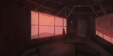 Michael Vincent Manalo WOMAN IN BUILDING BY WINDOW WATCHING SUNSET