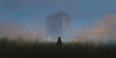 Michael Vincent Manalo GIRL IN FIELD WITH BUILDING AT SUNSET