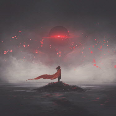Michael Vincent Manalo GIRL STANDING ON ROCK WATCHING EXPLODING PLANET