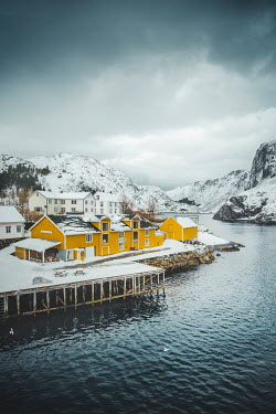 Evelina Kremsdorf VILLAGE BY FJORD WITH SNOWY MOUNTAINS