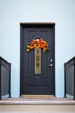 Evelina Kremsdorf DOOR IN HOUSE WITH THANKSGIVING WREATH