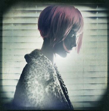 Gary Isaacs WOMAN WITH PINK HAIR IN LEOPARDSKIN COAT