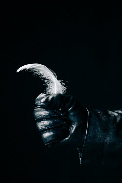 Magdalena Russocka male hand in black leather glove holding white feather