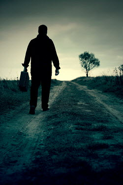 Joanna Jankowska SILHOUETTED MAN CARRYING CASE IN COUNTRYSIDE