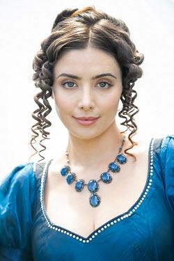 Lee Avison portrait of a brunette regency woman looking to camera