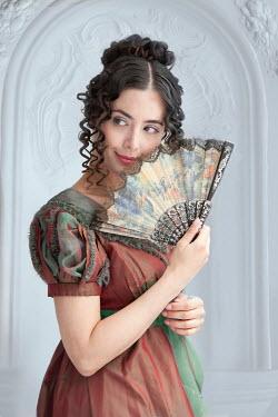 Lee Avison regency woman flirting with a fan