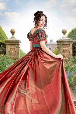 Lee Avison beautiful regency woman in the grounds of a mansion house