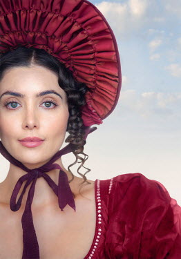 Lee Avison portrait of a regency woman wearing a red bonnet