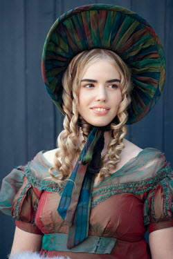Lee Avison portrait of a pretty regency woman with ringlets and bonnet