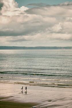 Tim Robinson TWO DISTANT CHILDREN RUNNING ON BEACH