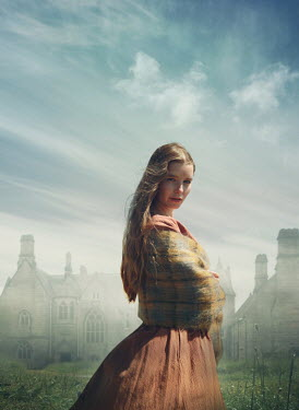 Mark Owen WOMAN WITH SHAWL STANDING BY HISTORICAL MANSION