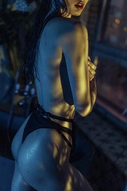 Maria Yakimova WOMAN IN UNDERWEAR AT NIGHT IN SHADOW BY WINDOW