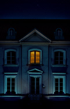 Jaroslaw Blaminsky HISTORICAL BUILDING WITH LIGHT IN WINDOW