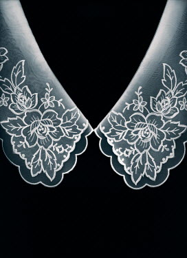 Magdalena Russocka white embroidered  collar on black background