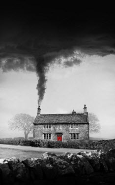 Stephen Mulcahey COTTAGE WITH RED DOOR AND SMOKING CHIMNEY